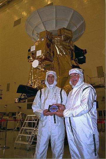Charley Kohlhase (left), and Richard Spehalski, at KSC's Payload Hazardous Servicing Facility.