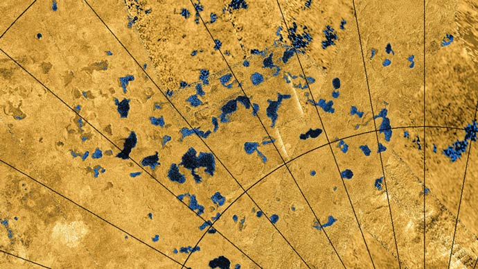 This colorized mosaic from NASA's Cassini mission shows the Titan's northern land of lakes and seas.