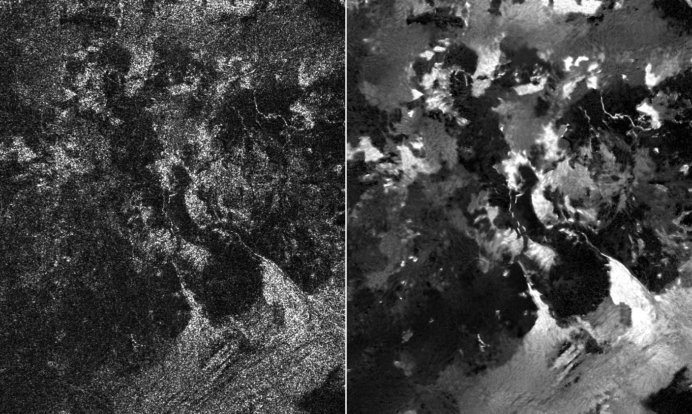 Side-by-side comparisons of a traditional Cassini Synthetic Aperture Radar