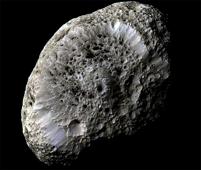 Cassini obtained this false-color view of Saturn's chaotically tumbling moon Hyperion