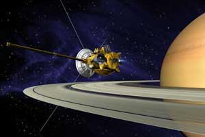 Artist's concept of the Cassini spacecraft during Saturn orbit insertion