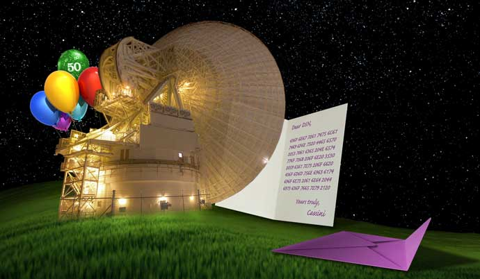 Cassini Sends 50th Anniversary Greetings to the Deep Space Network