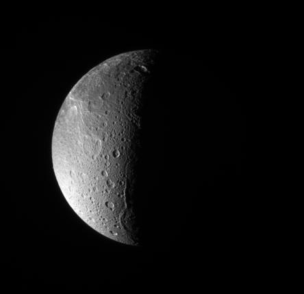 The north pole of Dione.