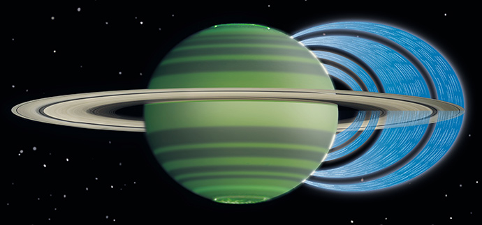 This artist's concept illustrates how charged water particles flow into the Saturnian atmosphere from the planet's rings