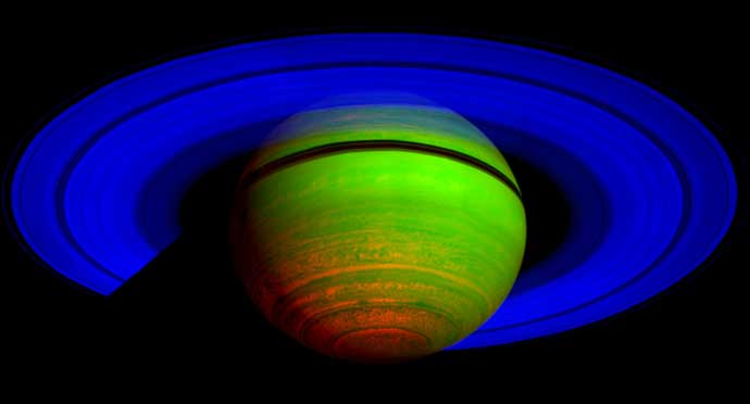 This false-color composite image shows Saturn's rings and southern hemisphere.