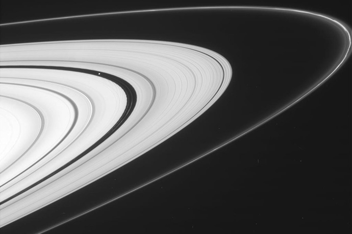 This view, from Cassini's imaging camera, shows the outer A ring and the F ring.
