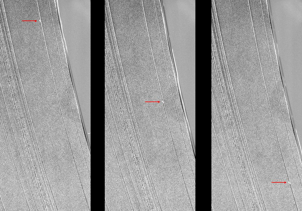 These three Cassini images show a propeller-shaped structure created by an unseen moon in Saturn's A ring.