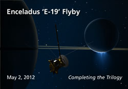 Artist's concept of the May 2, 2012, flyby of Enceladus.