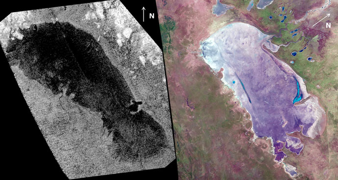The lake known as Ontario Lacus on Titan (left) bears striking similarity to a salt pan on Earth known as the Etosha Pan