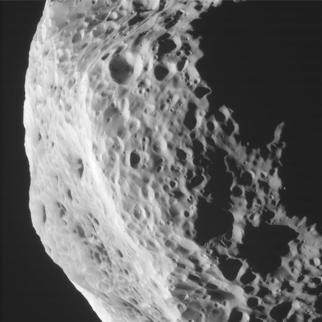 View taken by NASA's Cassini spacecraft of Saturn's moon Hyperion. Credit: NASA/JPL-Caltech/Space Science Institute