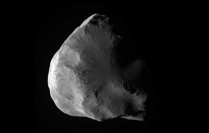 Cassini obtained this unprocessed image of Saturn's moon Helene on June 18, 2011