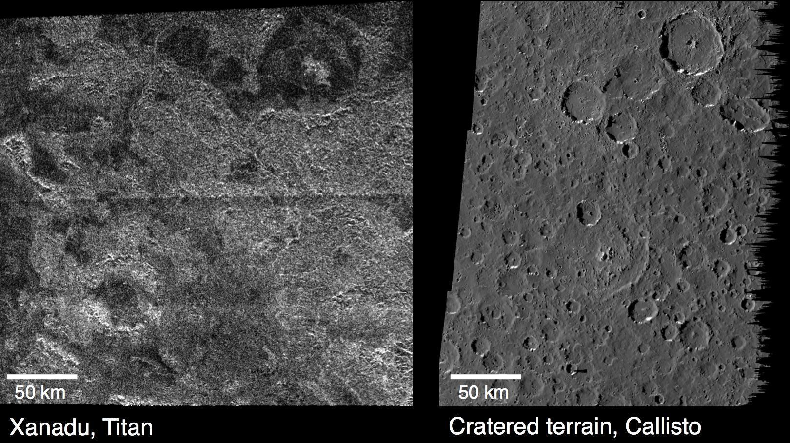 These images compare surface features observed by NASA's Cassini at the Xanadu region (left), and features observed by NASA's Galileo on Jupiter's moon Callisto (right).