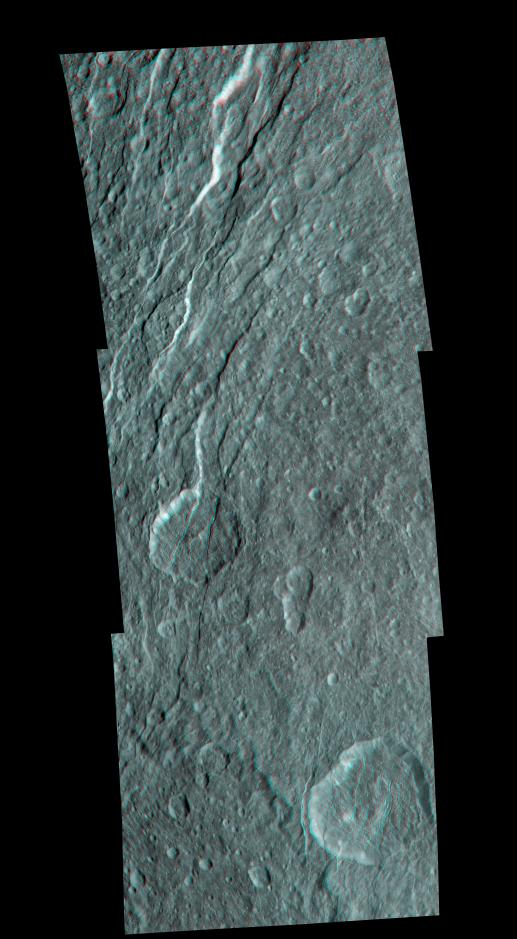 3-D image of wispy fractures on Rhea