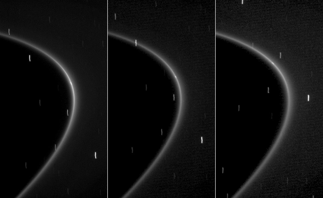 This sequence of three images shows the path of a newly found moonlet in a bright arc of Saturn's faint G ring.