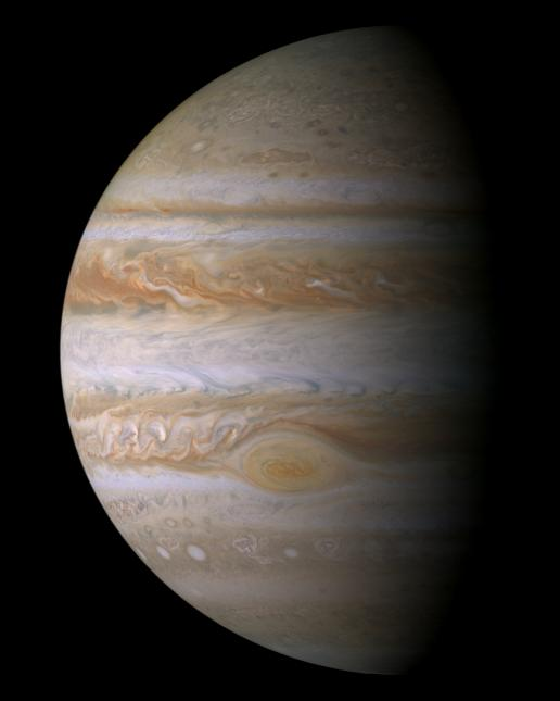 This true color mosaic of Jupiter was constructed from images taken by the narrow angle camera onboard NASA's Cassini spacecraft on December 29, 2000