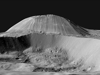 Simulated view of Ahuna Mons, Ceres
