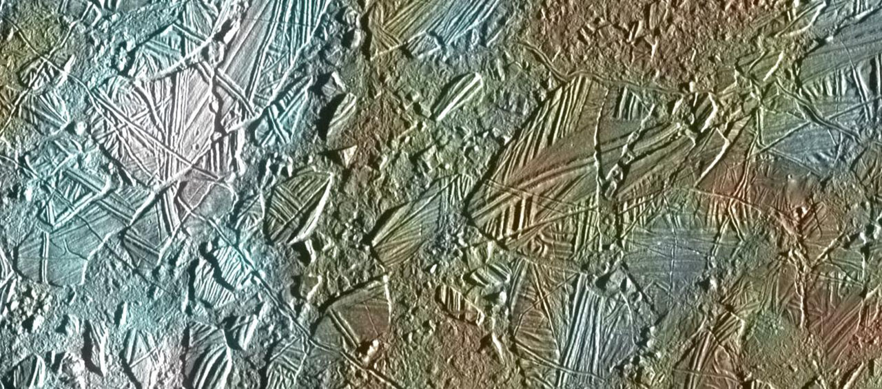 Rugged, crosshatched terrain on Europa.