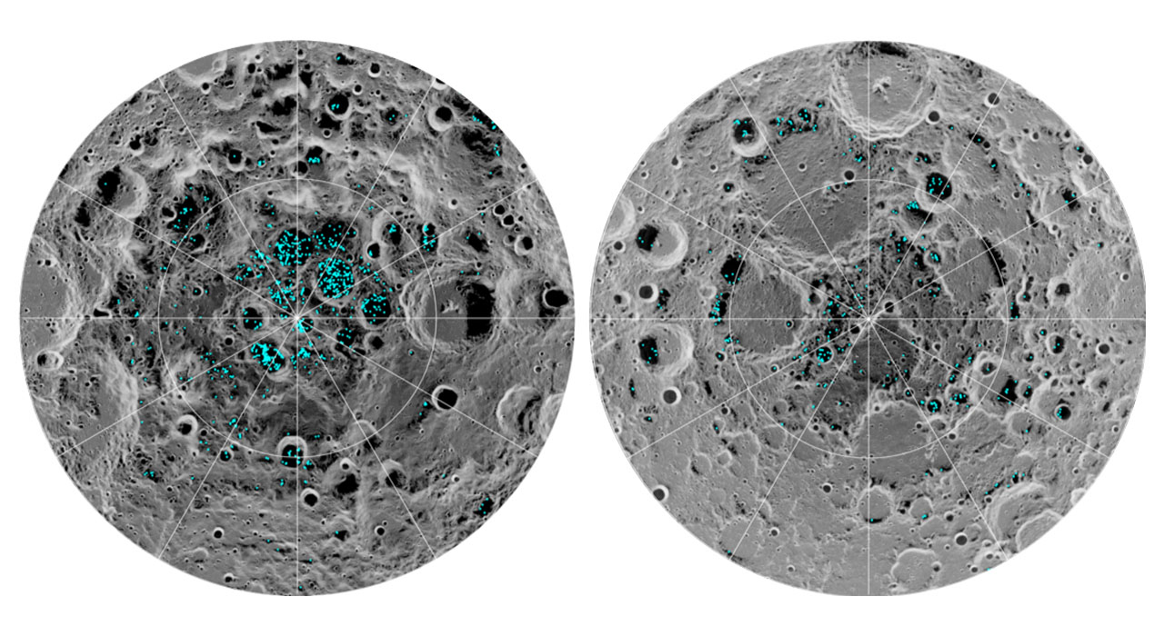 Ice highlighted in lunar craters on the Moon.