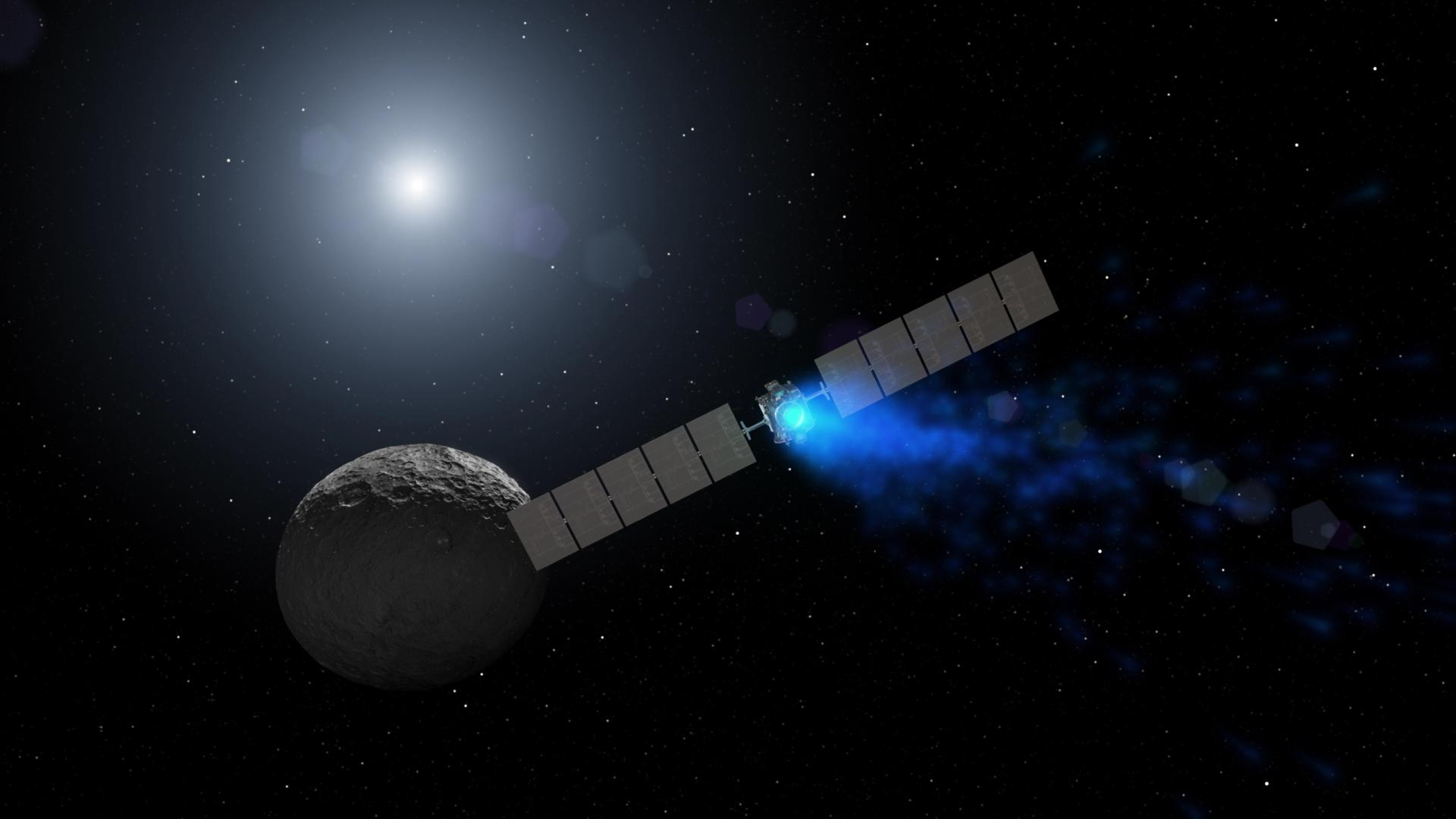 Artist's concept of NASA's Dawn mission at dwarf planet Ceres.