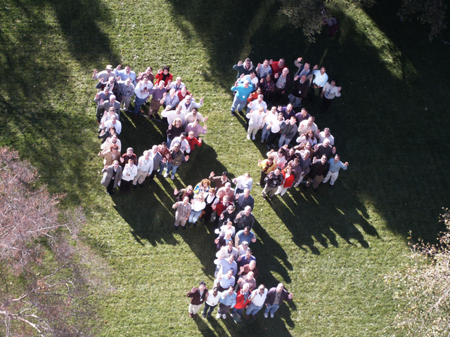 team members arranged into message DS1 seen from above