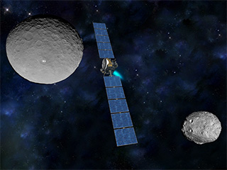 Artist's concept of Dawn traveling from the giant protoplanet Vesta (in a Dawn photo at lower right) to dwarf planet Ceres (upper left)