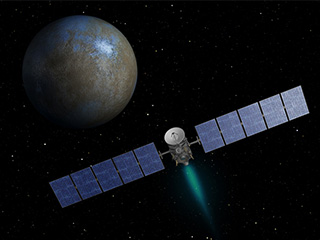Artist's concept of the Dawn spacecraft at the dwarf planet Ceres