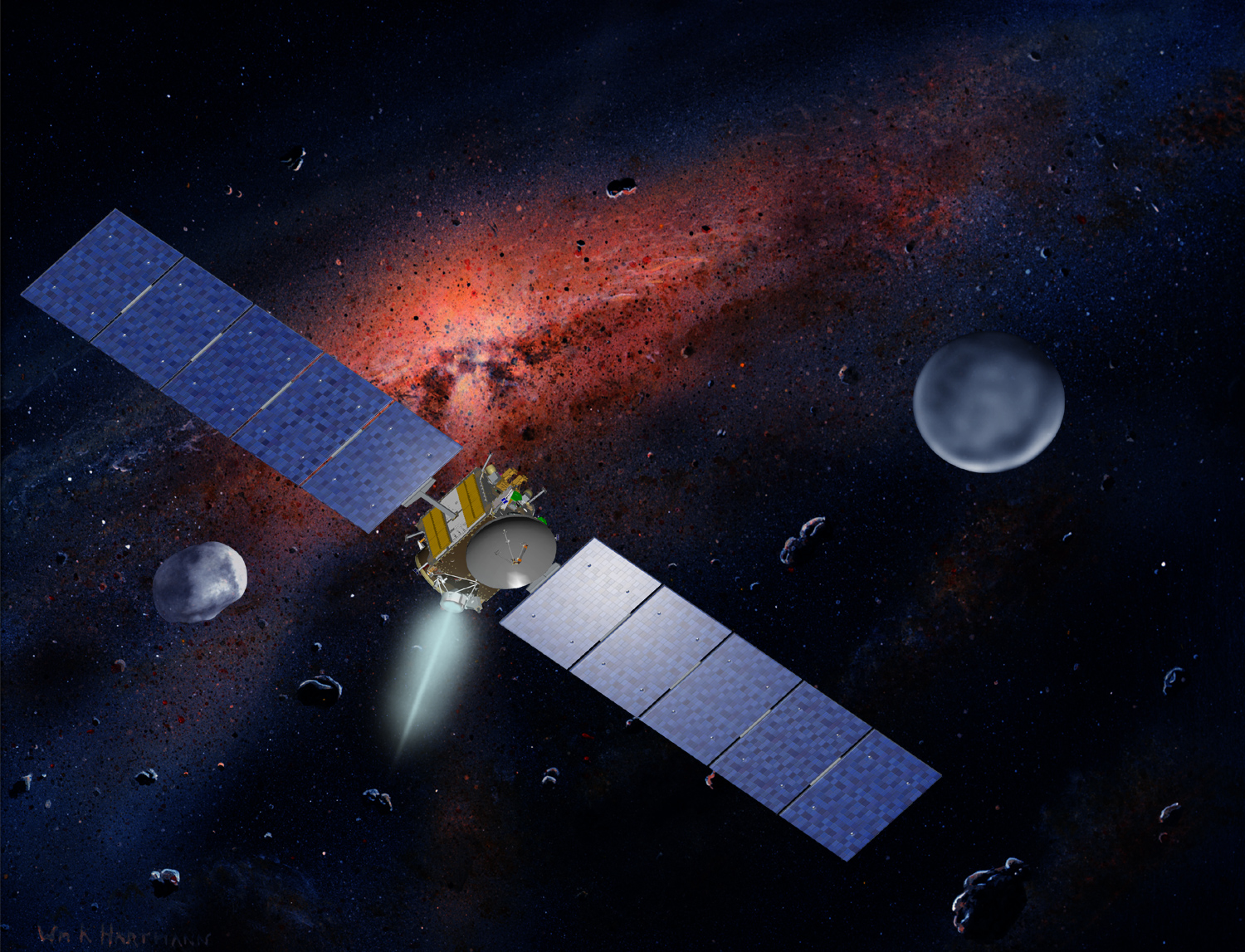 Artist's concept of NASA's Dawn spacecraft between the giant asteroid Vesta and the dwarf planet Ceres