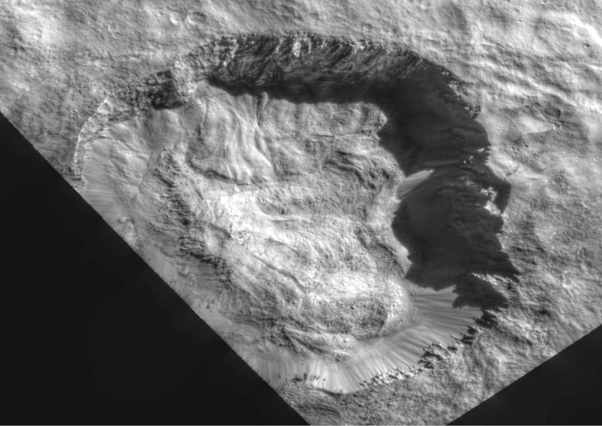 Detailed view of large impact crater on Ceres