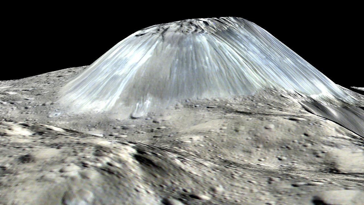 3D computer-generated view of mountain on Ceres