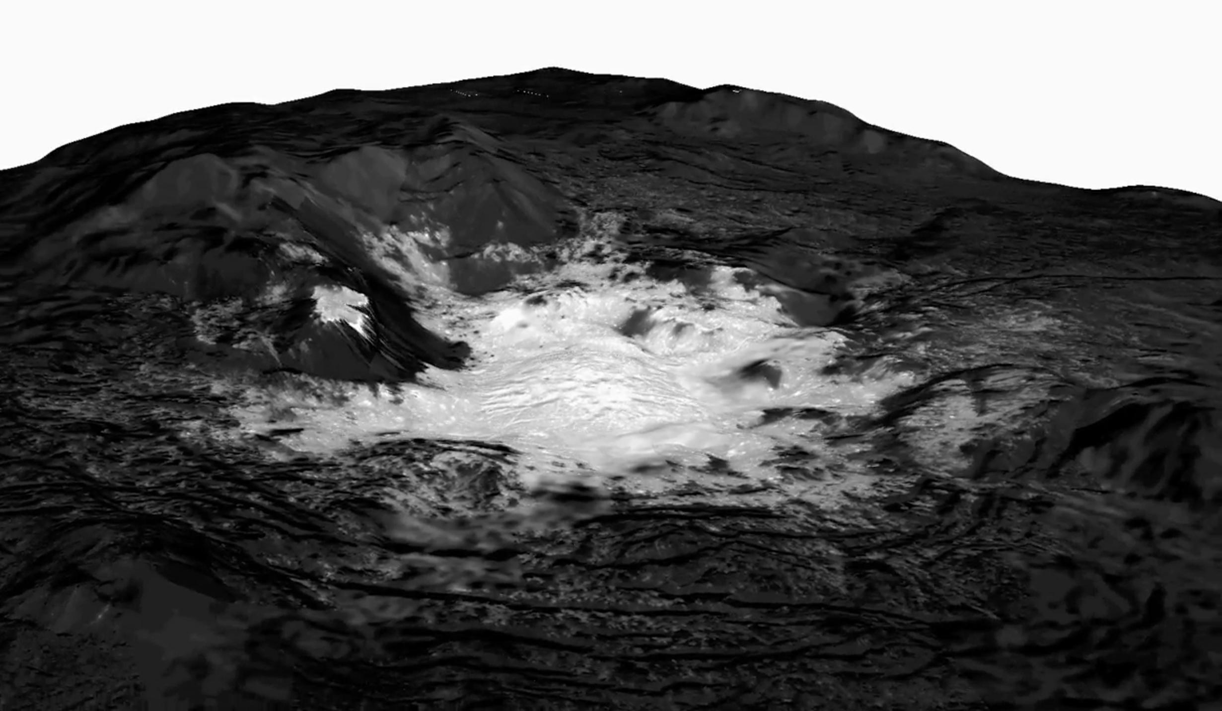 Topography model of bright white area on Ceres