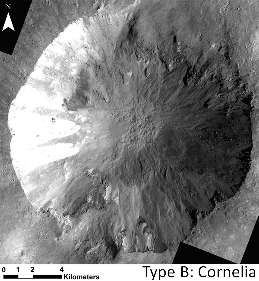 Overhead view of steep impact crater