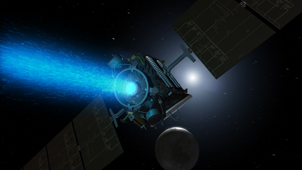 Spacecraft near asteroid