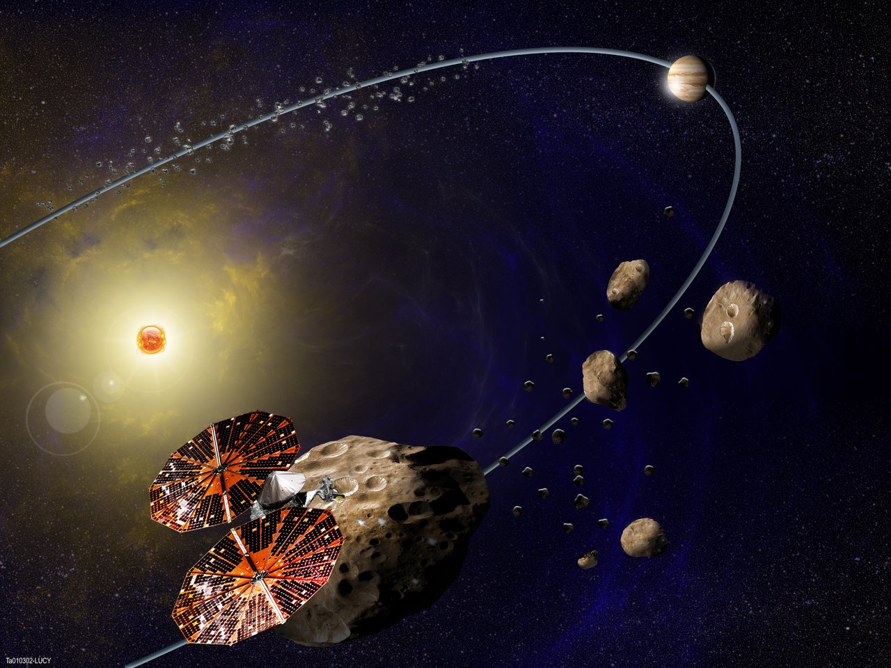 spacecraft and two groups of asteroids in orbit around the sun