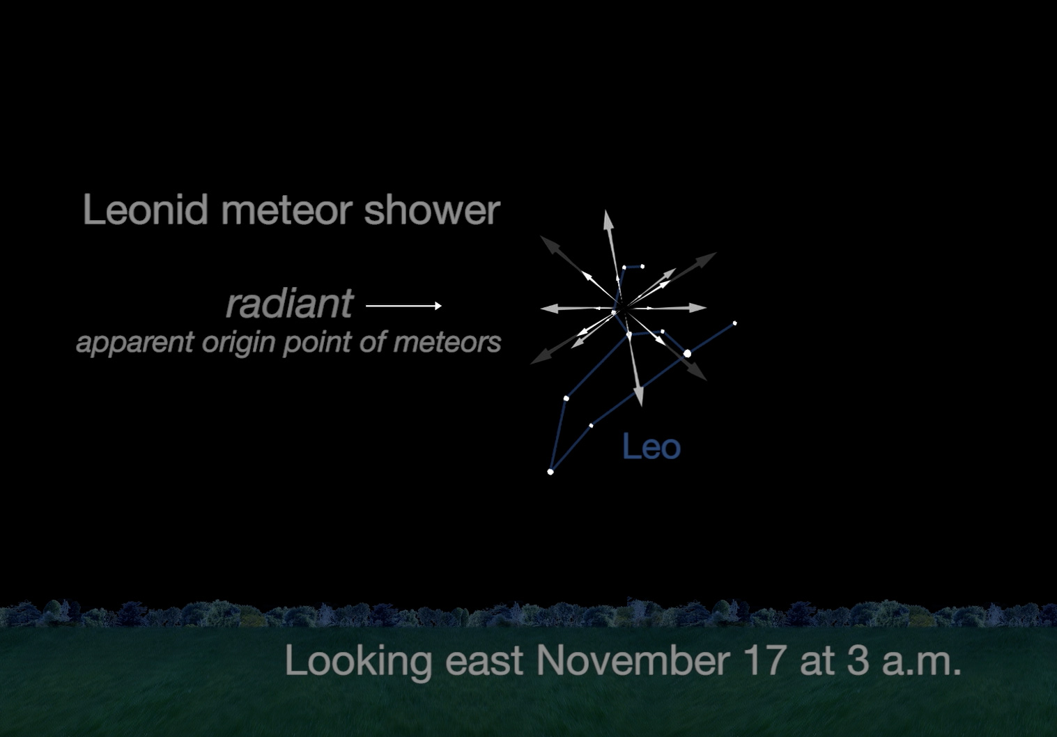Chart showing Leonid Meteors radiating from constellation Leo.