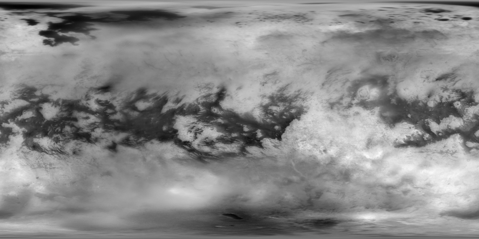 Black and white global view of Titans surface.