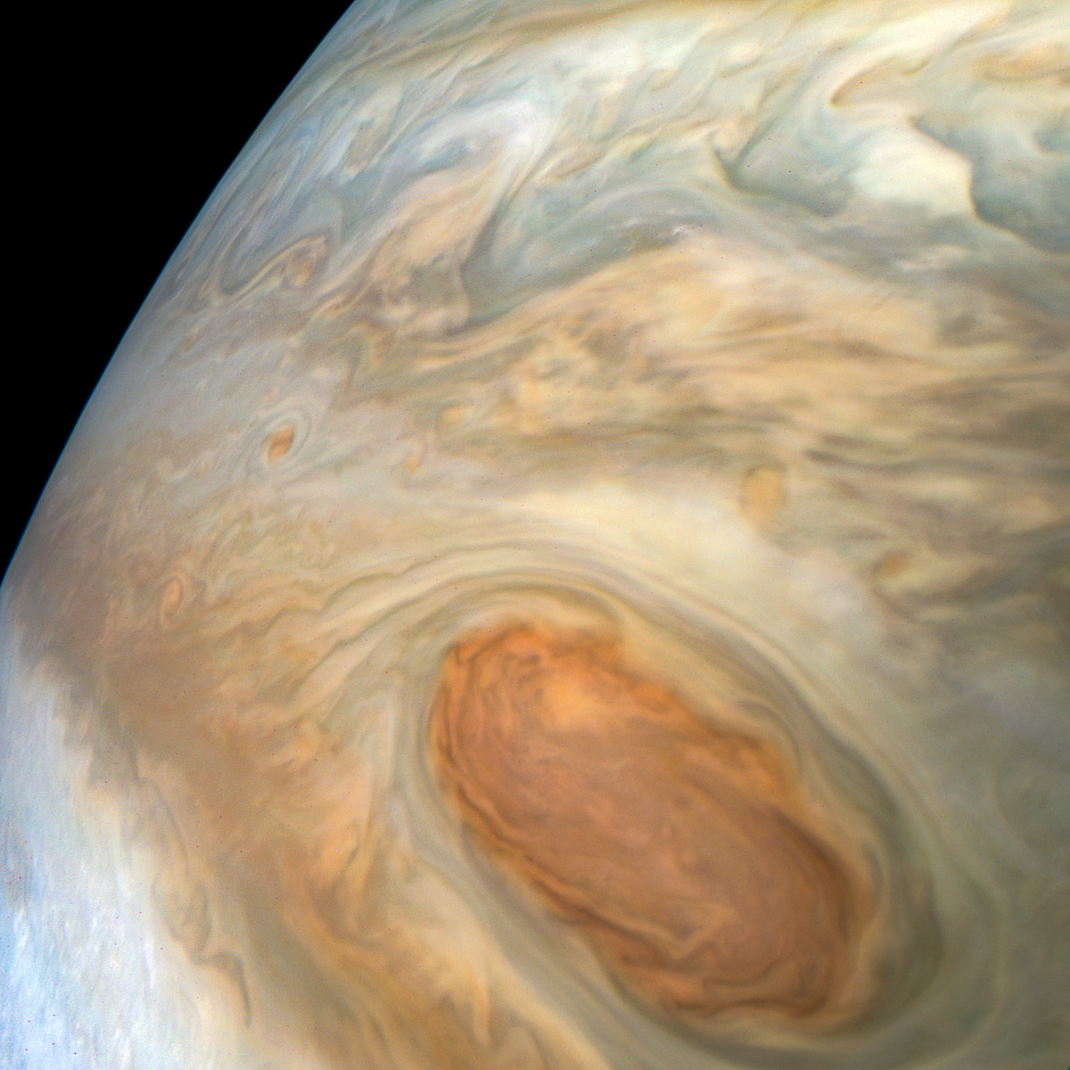 close-up of the clouds in the great red spot