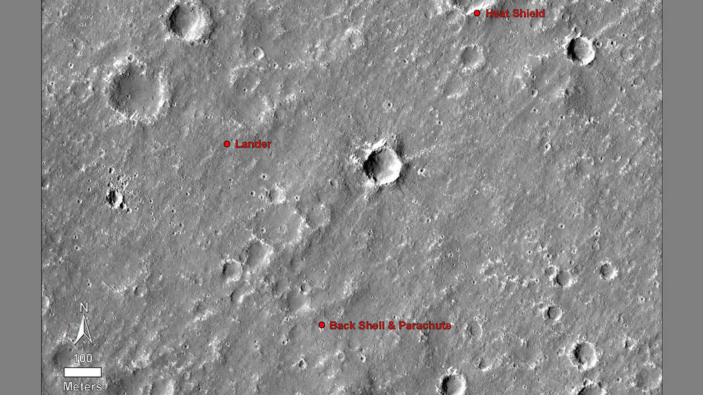 cratered landscape with landing locations labeled