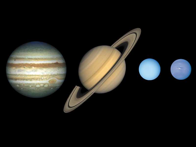 Illustration showing scale of all four giant planet. Jupiter is largest followed by Saturn. Uranus and Neptune are similar in size.