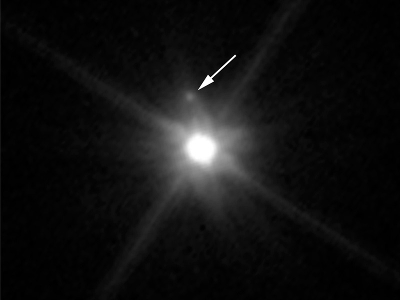 Fuzzy image of dwarf planet Makemake and its moon.