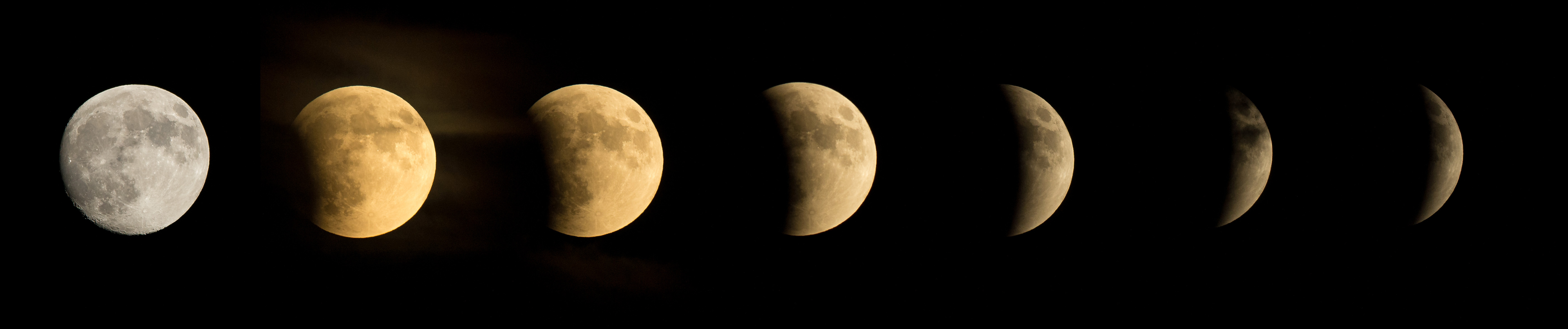 Series of images showing a lunar eclipse