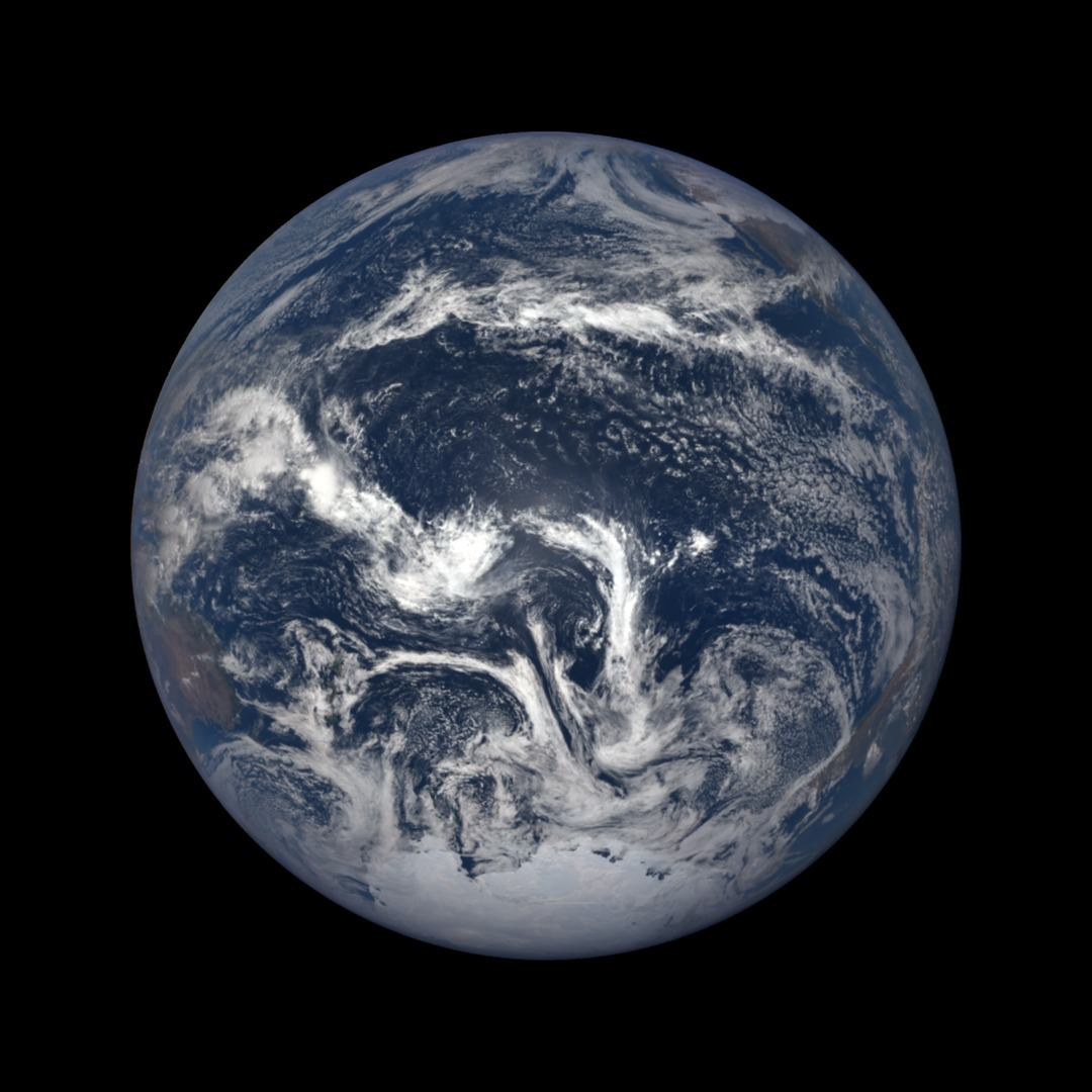 color, full-disc view of Earth from space with clouds and ocean