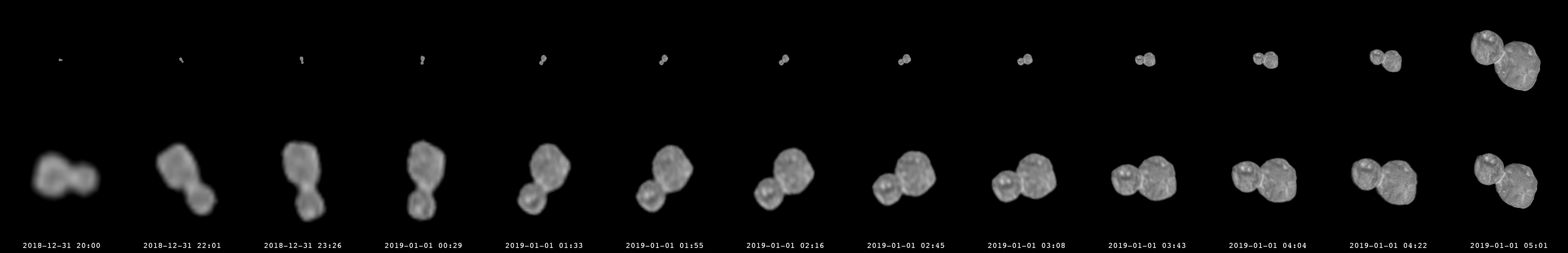 Sequence showing Mu69 growing from dot to fully-resolved object.