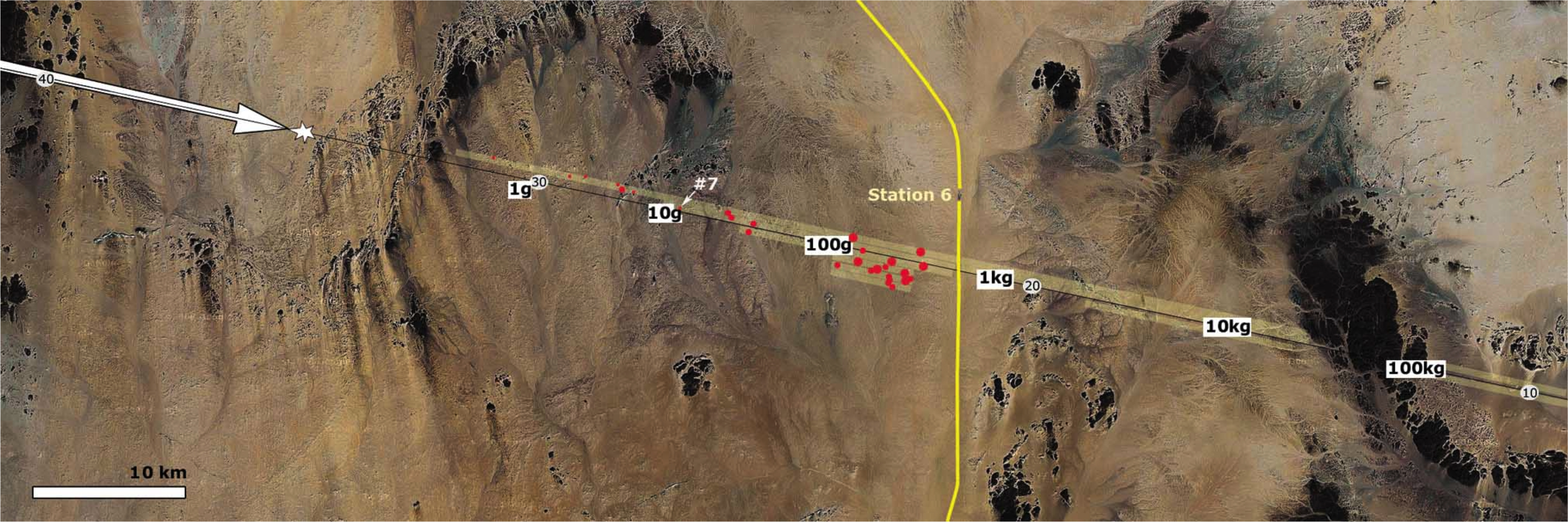 Graphic showing trajectory of meteor over desert.