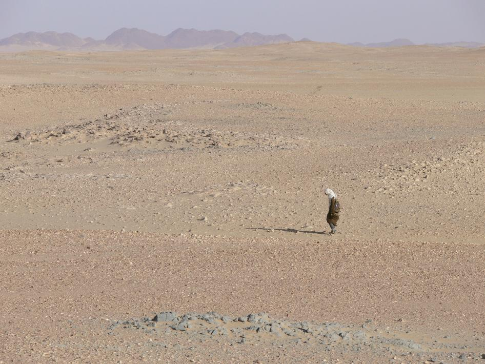 Lone figure searching a vast expanse of desert.
