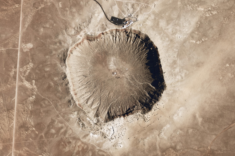 Aerial view of Meteor Crater in Arizona.