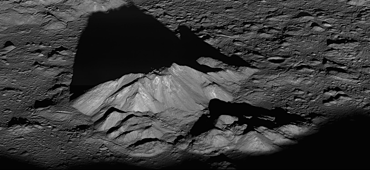 Mountain in the middle of Moon crater