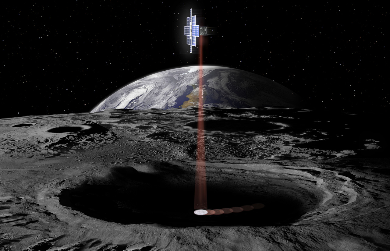 Artist's concept of Lunar Flashlight mission at the Moon.
