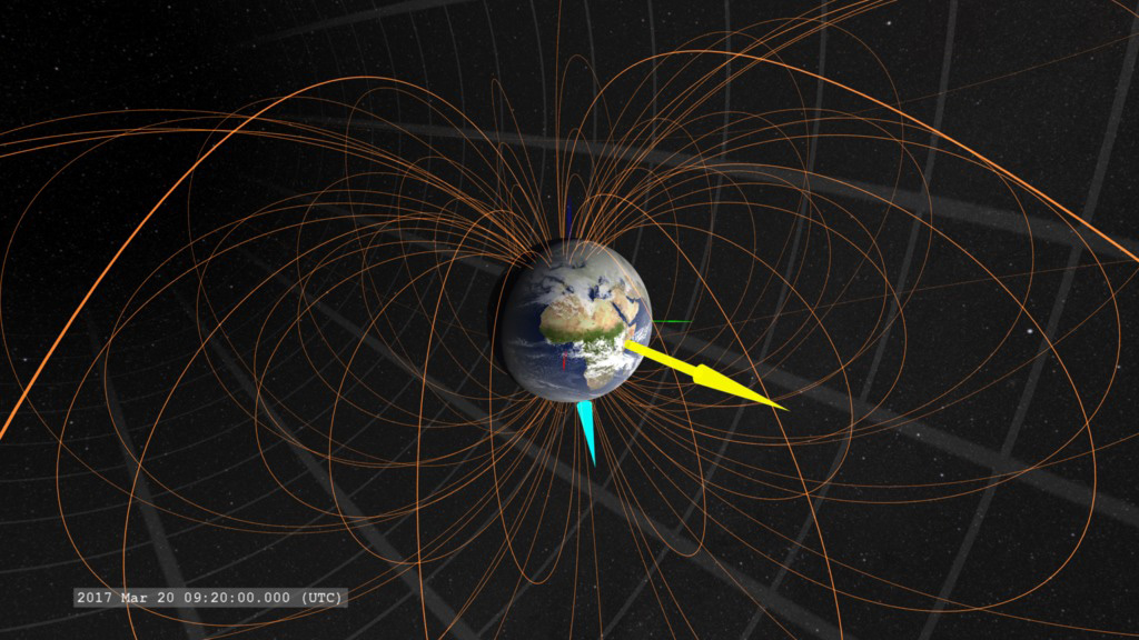 Visualization of Earth's magnetic field.