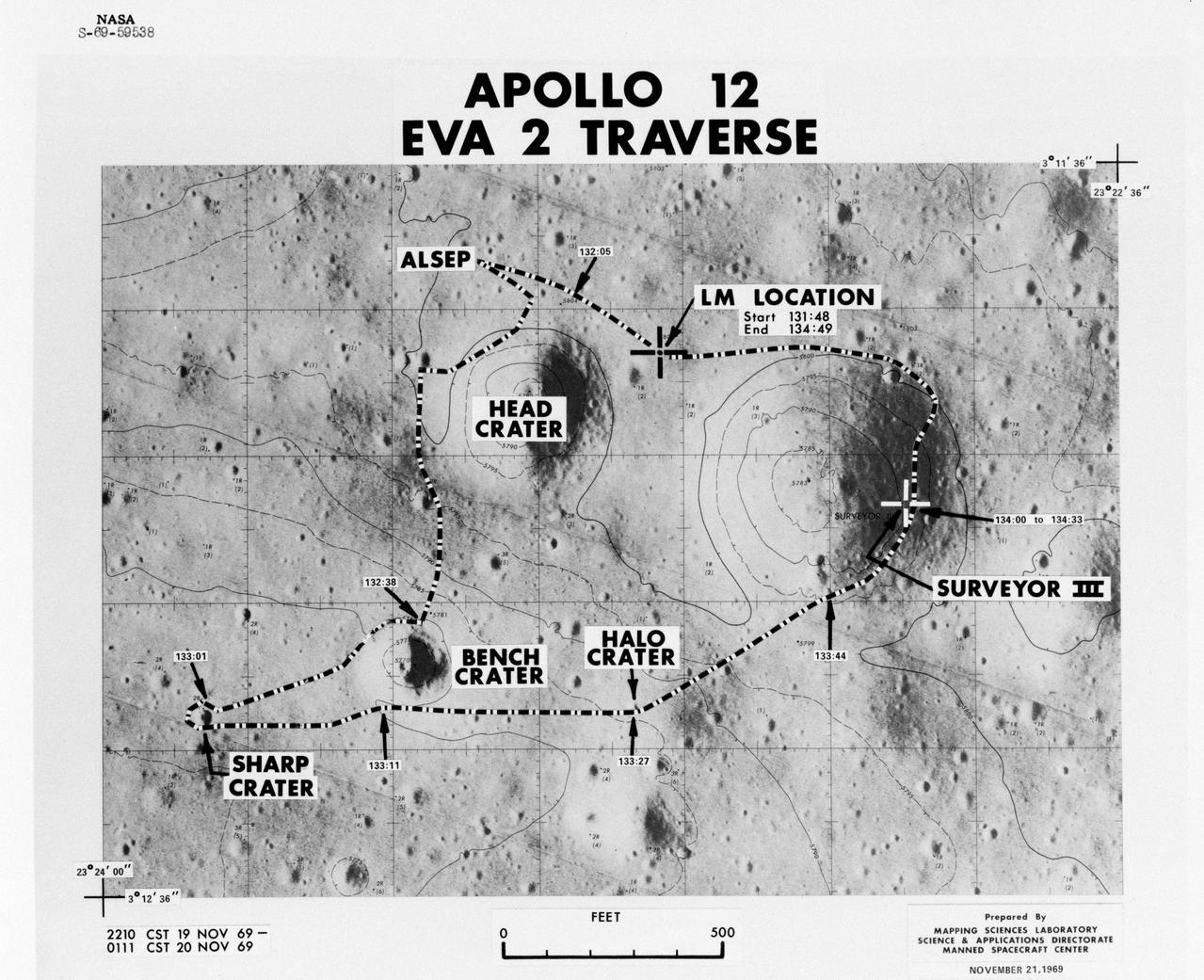 traverse map with paths and craters labeled
