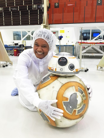 Tracy Drain and BB-8 from Star Wars.